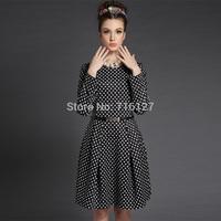FREE SHIPPING new 2014 Autumn winter temperament Fashion women Black and White Polka Dot squandering big swing Dress S-5XL