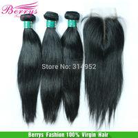 """6A Berrys Brazilian Hair Products,3pcs Straight  Bundle With 1pcs Middle Part Closure Unprocessed Virgin Hair 4pcs/lot 10""""-34"""""""