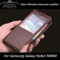 View window case for samsung galaxy note3 note 3 iii N9000 original leather cases back cover skin covers Free shipping