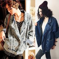 New Hot Oversize Women Vintage Loose double breasted Long Sleeve Coat Denim Jacket Drop Shipping 15412