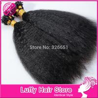 Luffy Coarse Yaki Kinky Straight Micro Loop Hair Extensions 100% Handmade Virgin Human Hair Micro Loop Ring Extensions 1g