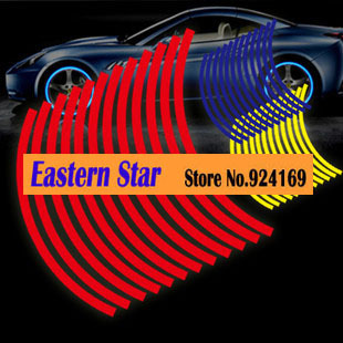 High quality Reflective Car Motorcycle Rim Stripe Wheel Decal Tape Stickers Car Styling(China (Mainland))