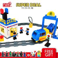 FUNLOCK Duplo set plastic Toy Train with Tracks 62pcs enlighten train blocks MF002099