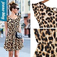 Sexy Women Sweet Lace Leopard  dress women Patchwork Short  casual dress New Arrival o-necke tank Dress  QDD 9018