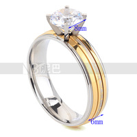 #CA1828 Wholesale Wedding Engagement Charm Fashion Round Rings for Women Gold Plated White CZ Lady Zircon Ring