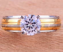 CA1828 Wholesale Wedding Engagement Charm Fashion Round Rings for Women Gold Plated White CZ Lady