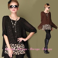 L-5XL Brand Ladies Plus Size loose leopard print long sleeve chiffon Blouse Female Tops Shirts 2014 Spring women clothing 045