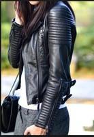 2014 New Fashion Autumn Winter Women Brand Faux Soft Leather Jackets Pu Black Blazer Zippers Coat Motorcycle Outerwear &Rivet