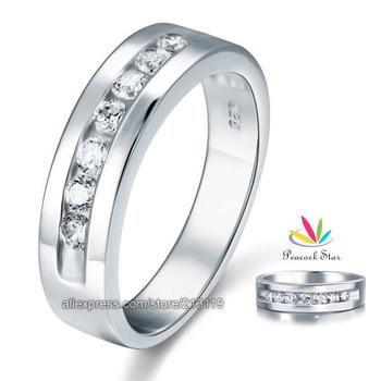 Оптовая продажа бесплатная доставка круглый Cut мужская создан алмаз свадебные обручальное ...