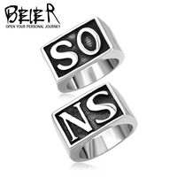 Super Sons of Anarchy Ring SO NS Scrub Stainless Steel Unique Punk Ring Jewelry Man Fashion Free Shipping BR8049B US size