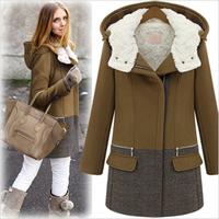 2014 fashion thick plus size wool coat women fashion zipper cap winter wadded jacket outerwear female parkas Free Shipping RU007