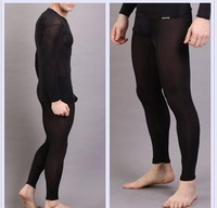2014 Free shipping Men's Transparent sleepwear ultra-thin tight sleep set U convex three-dimensional bags sexy pajama