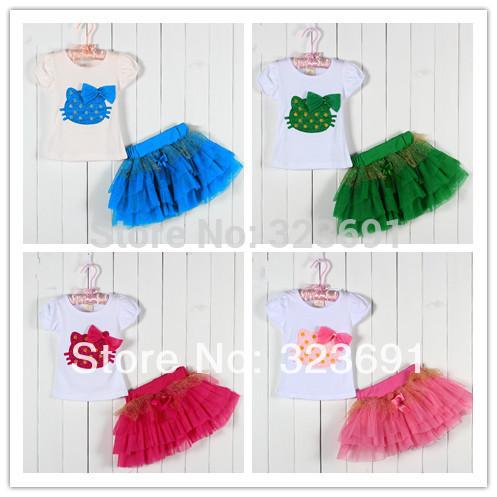 Retail Top selling! Girls clothing sets hello kitty T-shirt + tutu skirt kids clothing free shipping(China (Mainland))