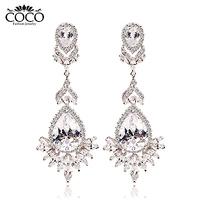 Super Luxury Austrian Crystal  Big Water Drop Earrings Women Weddings & Events Jewelry ZE102 Wholesale Four- color