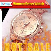 Best Selling Product 2014 Rose Gold Casual Watch Luxury Dress Watch Women Rhinestone Bracelet Japanese Style Quartz Brand