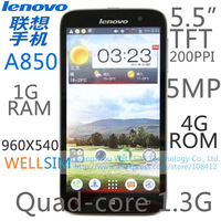 "Original Lenovo A850 Multi language Mobile phone 5.5""TFT 960x540 Quad core1.3G 1G RAM 4G ROM  Android 4.2 5MP"