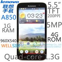 "Original Lenovo A850 Multi language Mobile phone 5.5""TFT 960x540 Quad core1.3G 1G RAM 4G ROM  Android 4.2 5MP"