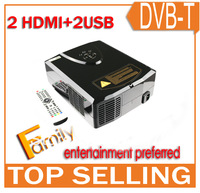 Top rank home projector / projectors with 2 hdmi ports 2 usb inputs digital TV S-Video YPbPr AV VGA for games system, free gifts