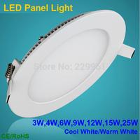 Free shipping 3w4W/6W/9W/12W/15W/25W LED Downlight panel light ceiling lamp bulb AC85-265V Warm /Cool white,indoor lighting
