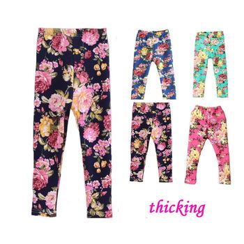 2014 весна осень зима новинка детская 1-8 год хлопок теплые брюки девушки дети цветов утолщение брюки печать леггинсы