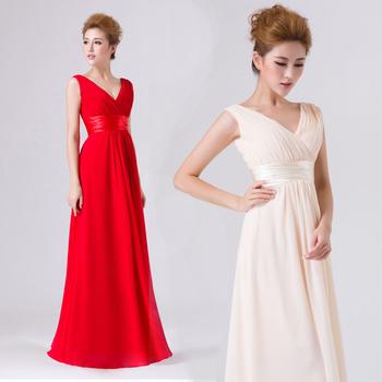 2014 V - образный вырез Double-Плечи Simple Сплошной Длинный Evening Dress Шифон ...