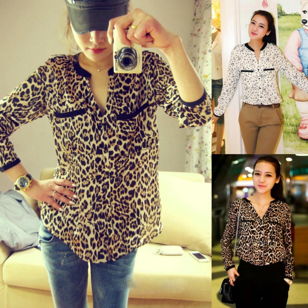 Exclusive!! XS-XXL,Hot Sale 2014 New Fashion Women Star Print Leopard Print Chiffon Blouse PLUS SIZE Y3461(China (Mainland))