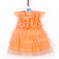 Retail 2014 Girls Stereo Flower Fly Sleeve Lace Dress Summer Baby Dress Girl Dresses Princess Children's Pink Cheap tcq 001 R2