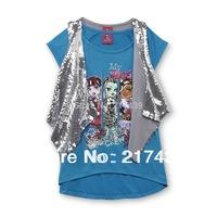 free shipping monster high girl girls 2 pieces set school summer short sleeve Blue T shirt + vest set
