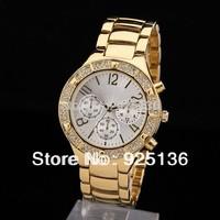 2014 women and men luxury brand  Designer  Gold quartz watches Fashion & Casual  Rhinestone watches women dress watch