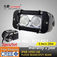 FREE  SHIPPING! 2PCS 5 INCH 20W CREE LED LIGHT BAR LED DRIVING LIGHT SPOTBEAM IP68 FOR OFFROAD MARINE BOAT 4x4 ATV UTV USE