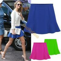 2013 New Korea Hot Sexy Women High Waist Short Plain Flared Pleated A-Line Mini Skirt 18845 F