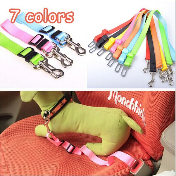 Free Shipping 2014 Lefdy New 5 Colour Strong pet/Dog Car Travel Seat Belt Clip Lead Restraint Harness Auto traction leads #1060(China (Mainland))