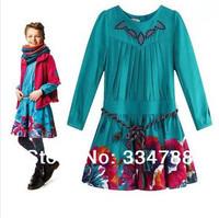 Spring 2014 New Designer Girl Dresses Fashion Brand Kid Child Dress Floral Dress Girls Embroidery Best Quality Children Clothing
