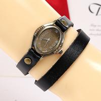 Hot Market! Promotional Most Popular European Style Fashion Casual Knit   Woman Bracelet Long Chain Leather Quartz Watch