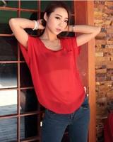 SZ013  #1  20 Colours Women Large Size Sexy Casual Chiffon Blouse Fluorescent Colors Shirt Batwing Sleeve Tank Vest Top