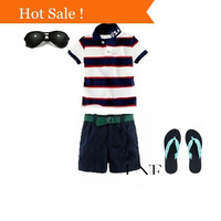 New arrival! 2-7 years fashion cotton polo boys set summer stripe short-sleeved shirt / shorts sports suit kid clothes retail
