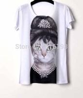 Womens Tops Fashion 2014 Punk Rock Printed T-shirt 3D Short T shirt Women Camisetas Tops For Women Cartoon Audrey Hepburn Cat