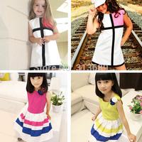 Retail Girl Splicing Dress Striped Casual Baby Girls Dress Vestidos De Menina Kids Clothes Christmas 100% Cotton tcq 004 - s3