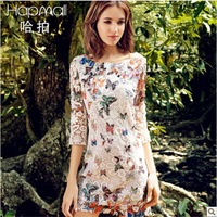 New 2014 Fashion Women disigual Butterfly Print Embroidery Mini flower Dress lace sexy girl casual dresses 520