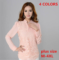 new 2014 lace blouses chiffon xxxxl blouse shirt women clothing blusas femininas blusas plus size roupas embroidery tops ys005