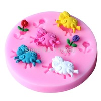 1PCS sheep and flowers shower party fondant molds,silicone mold soap,candle moulds,sugar craft tools,chocolate moulds,bakeware