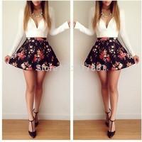 2014 Women White Print Patchwork Black Cute Vestidos Dress