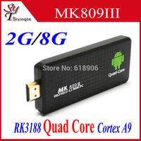 MK809III Android Mini PC MK809 III RK3188T Cortex A9 Quad Core Android 4.4.2 TV Stick 2GB 8GB 1.6GHz HDMI Google Smart TV Dongle