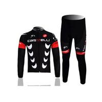 High quality! cycling jersey full zipper Long Sleeve Jersey + Cycling Bib trousers set Cycling Clothing Set equipment