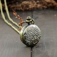 Promotion 15pcs/lot 2014 New Unisex Dress Vintage Bronze Steampunk Quartz Necklace Pendant Chain Clock Pocket Watch 18824
