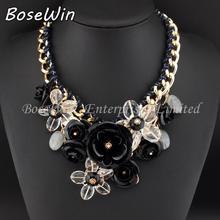 Top Sell Fashion Accessories Women Gold Chain Spray Paint Metal Flower Rhinestone Crystal Bib Necklaces Statement