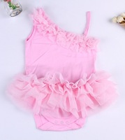 Cute baby girl pink cotton  lace dress romper  Infant Toddler  One piece Jumpsuit Baby Clothes Clothing