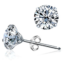 Genuine 925 Pure Sterling Silver Imitated Diamond Wedding & Engagement Cubic Zirconia Stud Earrings For Women Platinum Plated