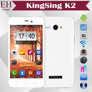 KingSing K2 Android Smartphone MTK6572 Dual Core 1.3GHz 4.3 inch IPS 800x480 2.0MP Dual SIM 4G ROM WCDMA Bluetooth WiFi GPS