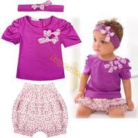 3Pcs/Set Baby Infant Toddler Girl Clothing Set Short Top T-shirt+ Pants+ Headband Set Clothing Cute Outfit Cotton 0-36M 19872 Z